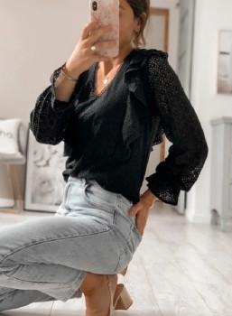 Blouse - Romantic - Zwart/Wit