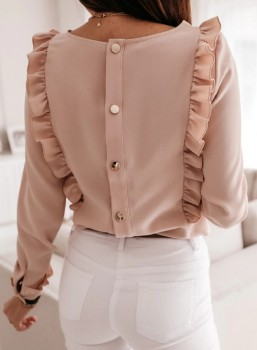 Blouse - Ruches Lady - Roze/Zwart/Wit