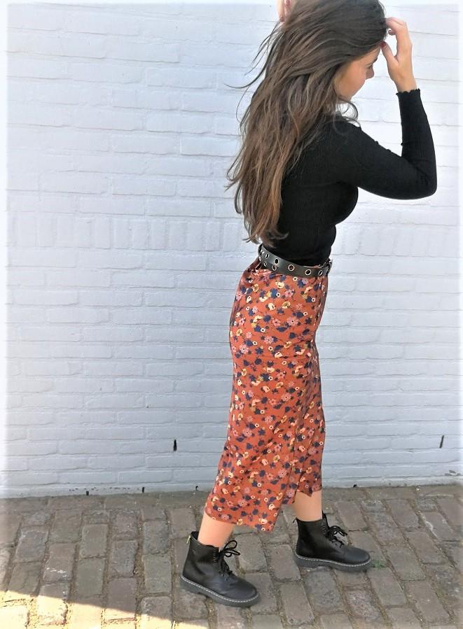 Rok - Floral Fit - Zwart/Bruin