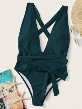 Swimsuit - Watch the sunset - Blauw/Groen/Zwart