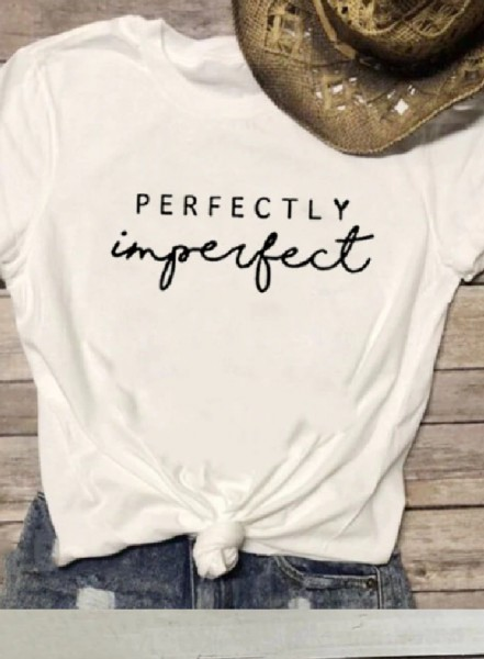 Top - Perfectly imperfect - Wit/Zwart